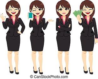 donna d'affari, pose, carattere, lavorativo