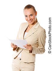 donna d'affari, presa a terra, carte