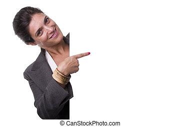donna d'affari, presa a terra, uno, tabellone