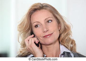 donna d'affari, presa, chiamata, telefono