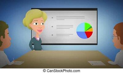 donna d'affari, presenta, buono, risultati