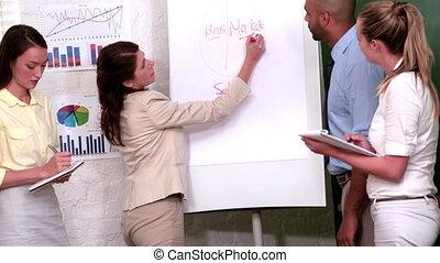 donna d'affari, presentare, lei, idee