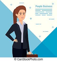 donna d'affari, professionale, cartella esecutiva, elegante