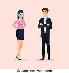donna d'affari, professionale, esecutivo, successo, uomo affari