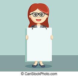 donna d'affari, pubblicità, presa a terra
