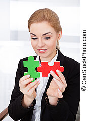 donna d'affari, puzzle, jigsaw, presa a terra