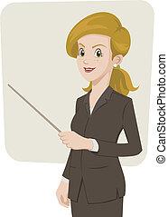 donna d'affari, qualcosa, indicare