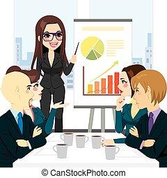 donna d'affari, riunione, gruppo