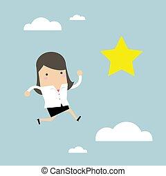 donna d'affari, salti, star., stendere