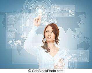 donna d'affari, schermo, toccante, virtuale