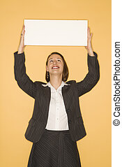 donna d'affari, segno., presa a terra, vuoto