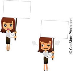 donna d'affari, set, cartone animato, divertente
