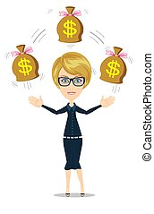 donna d'affari, soldi, cartone animato, tenendo borsa