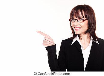 donna d'affari, sorridente, indicare