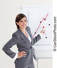 donna d'affari, sorridente, segnalazione, figure, vendite