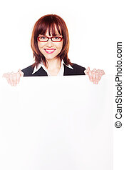 donna d'affari, sorridente, vuoto, presa a terra, segno