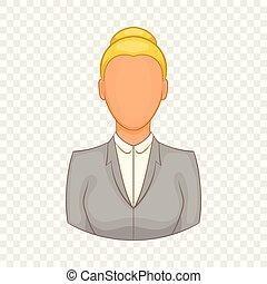 donna d'affari, stile, cartone animato, icona