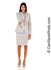 donna d'affari, stretta di mano, indiano, offerta