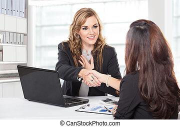 donna d'affari, stringere mano, secondo, uno, lungo,...
