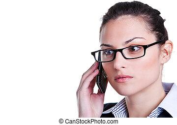 donna d'affari, su, uno, telefono mobile
