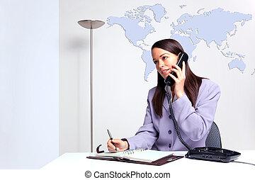 donna d'affari, telefono, in, ufficio