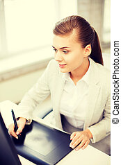 donna d'affari, ufficio, tavoletta, disegno