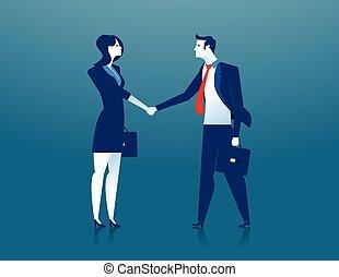 donna d'affari, uomo affari, stringere mano