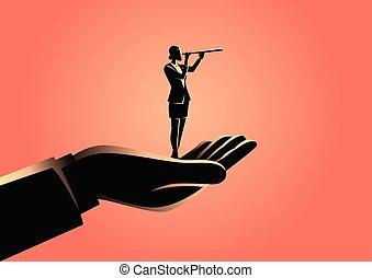 donna d'affari, usando, telescopio, tenendo mano