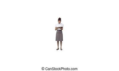 donna d'affari, usando, uno, tavoletta, computer