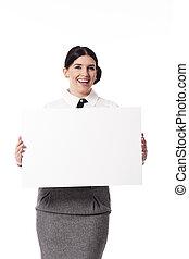 donna d'affari, vuoto, presa a terra, segno