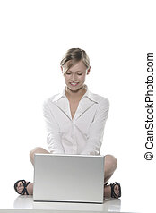 donna, davanti, il, computer