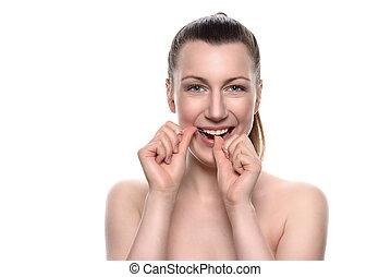 donna, dentale, nudo, filo seta, usando, sorridente