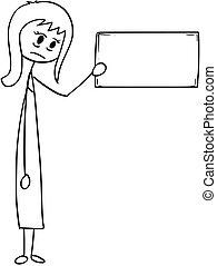 donna, depresso, donna d'affari, o, segno, concettuale, cartone animato, vuoto