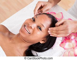 donna, detenere, massaggio