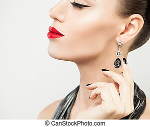 donna, diamante, esposizione, argento, perla, moda, nero, orecchini, bianco, modello