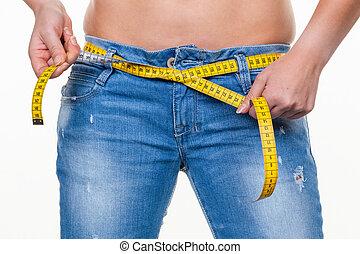 donna, dieta, prossimo, metro a nastro, prima