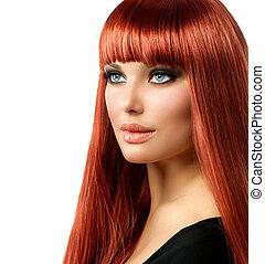 donna, diritto, isolato, capelli lunghi, sexy, bianco, baluginante, rosso