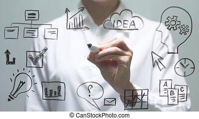 donna, disegno, crescita, grafico, su, trasparente, screen., donna d'affari, disegnare, bordo