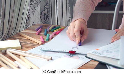 donna, disegno, differente, affari, matematica, grafici