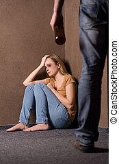 donna, disperato, ubriaco, violenza, idea, battuto, casa, ...