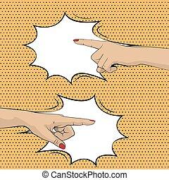donna, dita, indicare, mani