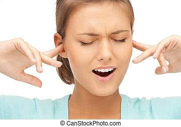 donna, dita, orecchie