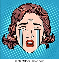 donna, dolore, faccia, pianto, retro, pianto, emoji