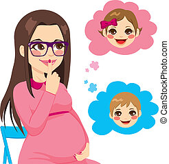 donna, domandare, incinta
