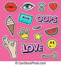 donna, doodle., pezze, illustrazione, corona, vettore, adolescente, stelle, adesivi, ragazza, moda, tesserati magnetici, eye.