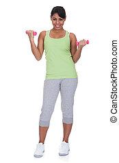 donna, dumbbells, giovane, esercitarsi