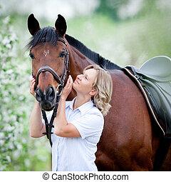 donna, e, cavallo, in, giardino