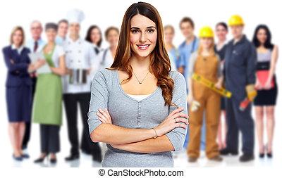 donna, e, gruppo, di, affari, persone.