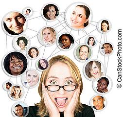 donna, e, sociale, rete