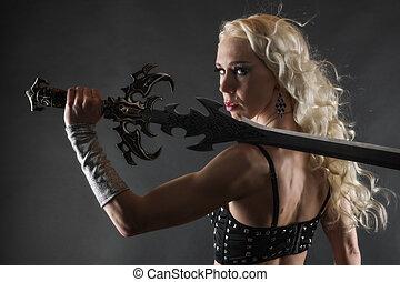 donna, e, spada
